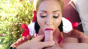 Blonde haired Kianna Dior handjob during oktoberfest