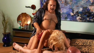 Sunset Thomas with Ron Jeremy rough goes wild on cock