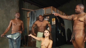 Gangbang together with muscled babe Adriana Chechik