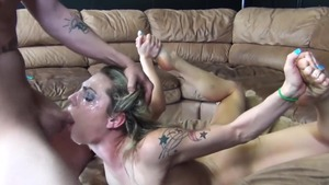 Shaved caucasian pornstar sucking dick