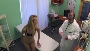 Skinny doctor pussy eating