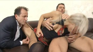 Blonde haired in sexy stockings fucks with George Uhl