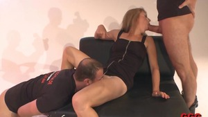 Sexy german stepmom rough gangbang in HD