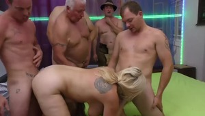 Chubby caucasian blonde haired gangbang HD