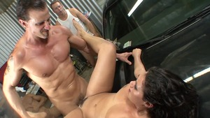 Very sexy and pierced brunette Charley Chase gonzo cumshot