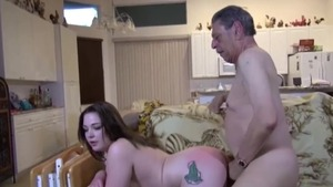 Ass fucking amongst inked shaved caucasian couple