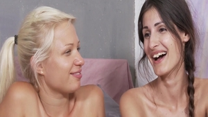 Masturbating during interview among small tits brunette