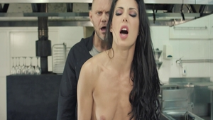 Big butt slut Alexa Tomas rough doggy cooking in the kitchen