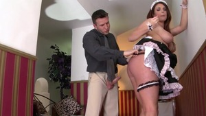 Hardcore sex escorted by busty maid