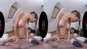 Large tits asian enjoys oiled plowing hard