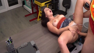 Horny huge boobs brunette raw ass fucking on the table