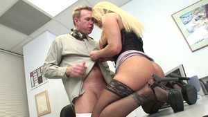 Lustful MILF erotic dick sucking cumshot in office in HD