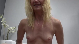 Real fucking in company with very small tits blonde hair