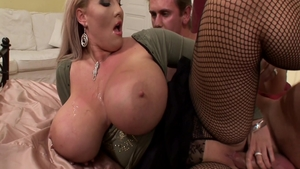Natural BBW Laura Orsolya in fishnets hard fucked all the way