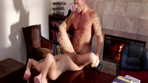 Sara Luvv and Marcus London rough handjob on the table