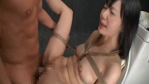 Very cute asian celebrity tied up in the toilet