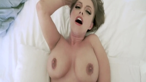 Huge boobs and inked stepmom Britney Amber rough blowjobs