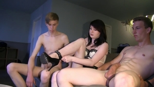 Cumshot small boobs european
