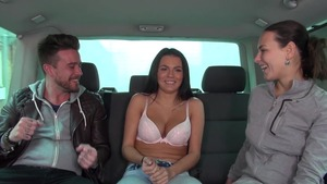 Too cute amateur Wendy Moon group sex in the car