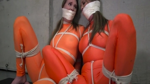 Very hot charming babe wearing spandex experience tied up HD