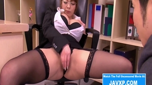 Asian in sexy stockings humping in office