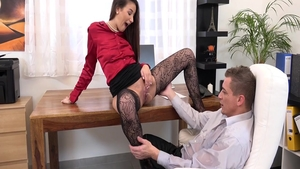 Sex scene accompanied by charming babe