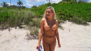 Large tits female flashing outdoors in HD