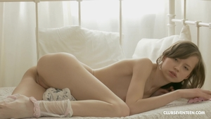 Russian shaved female in stockings toys solo