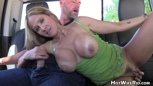 Large boobs hairy blonde Hot Wife Rio jack off outdoors in HD
