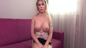 Petite large boobs babe romantic pussy eating on the couch