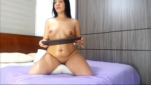 Young & chubby brunette masturbating solo