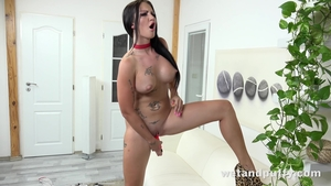 Solo tattooed and large boobs female Isabel Dark fun with toys