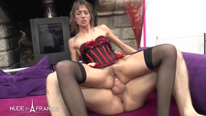 Plowing hard in the company of nude french brunette