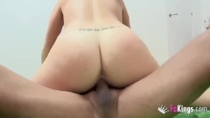 Inked beautiful european couple cock sucking at casting