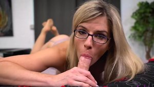 Mature Cory Chase in stockings cumshot
