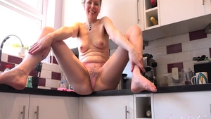 Amazing babe pussy fuck in the kitchen