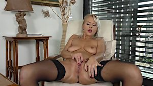 Sex in company with big tits blonde hair