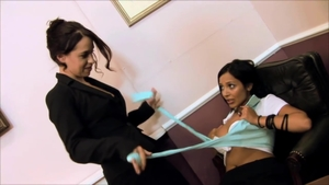 Incredible brunette sex toys in office