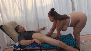Big ass american step sis Katie Cummings handjob outdoors HD