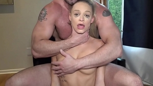 Hard slamming in company with pretty blonde babe