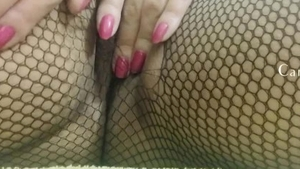 Teasing escorted by tight amateur in fishnet HD
