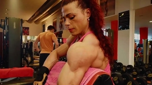 Muscled female workout HD
