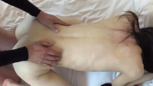 Loud sex in company with japanese amateur