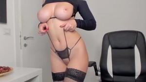 Solo big tits redhead in her lingerie smoking