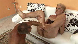 Rough fucking with saggy tits blonde babe