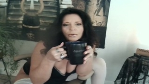 Ramming hard in company with huge tits stepmom