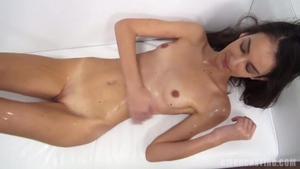 Petite small tits amateur oily at the casting