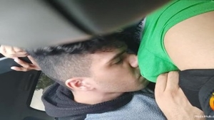 Friend getting smashed very nicely in car