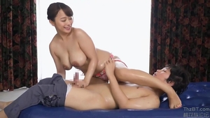 Large boobs star Marina Shiraishi POV handjob in HD
