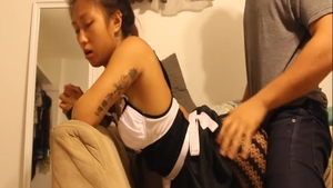 Hard ramming accompanied by petite asian teen chick